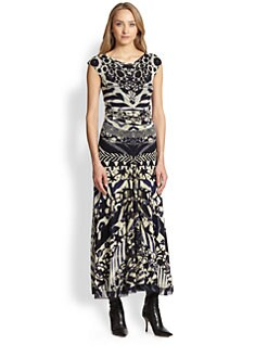 Fuzzi - Printed Cap-Sleeve Maxi Dress