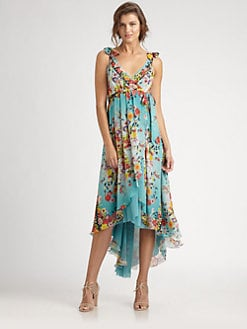 Fuzzi - Silk Hi-Lo Maxi Dress