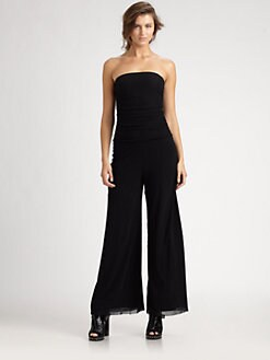 Fuzzi - Strapless Mesh Jumpsuit