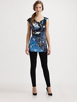 Fuzzi - Knotted-Shoulder Floral-Print Jersey Top