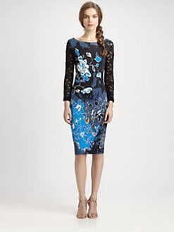 Fuzzi - Floral-Print Lace-Sleeve Dress
