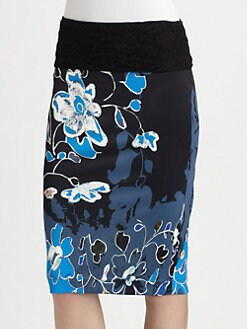 Fuzzi - Floral-Print Pencil Skirt