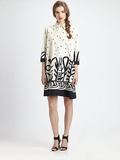 Fuzzi - Polka Dot/Tribal-Print Shirtdress