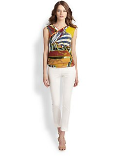 Fuzzi - Printed Side-Ruched Top
