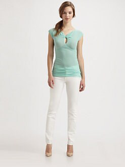 Fuzzi - Knotted-Neck Stretch Mesh Top