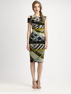 Fuzzi - Printed Draped/Gathered Dress