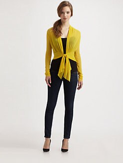 Fuzzi - Tied-Waist Mesh Cardigan