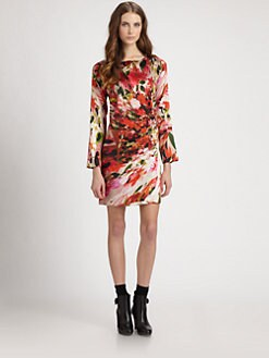 Fuzzi - Floral-Print Stretch-Silk Dress
