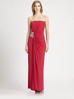 Laundry by Shelli Segal - Shirred Knit Strapless Gown
