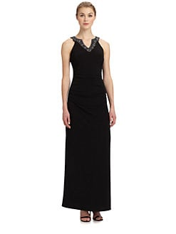 Laundry by Shelli Segal - Beaded-Neck Matte Jersey Gown