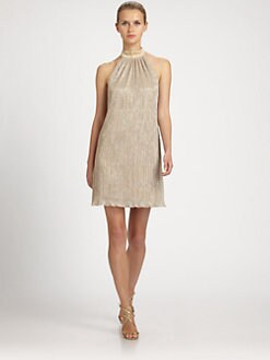 Laundry by Shelli Segal - Metallic Bow-Back Trapeze Dress