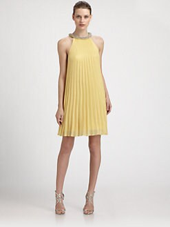 Laundry by Shelli Segal - Beaded-Neck Pleated Chiffon Trapeze Dress