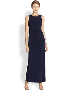 Laundry by Shelli Segal - Shirred Necklace Gown