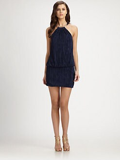 Laundry by Shelli Segal - Plissé Double-Ring Halter Dress