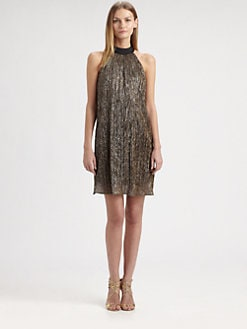 Laundry by Shelli Segal - Pleated Metallic Dress
