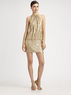 Laundry by Shelli Segal - Sequined Ring-Neck Mini Dress