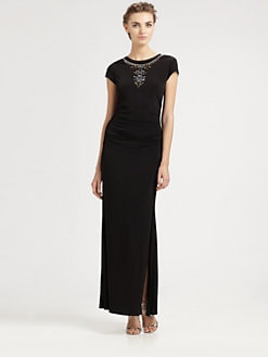 Laundry by Shelli Segal - Beaded Cap-Sleeve Gown