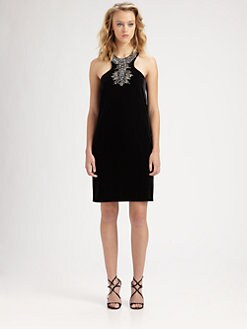 Laundry by Shelli Segal - Beaded/Velvet Halter Dress
