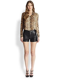 RED Valentino - Silk Leopard Heart-Print Blouse