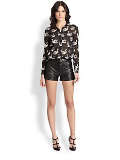 RED Valentino - Silk Swan-Print Blouse
