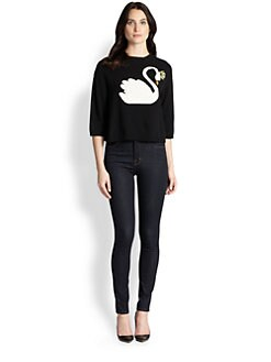 RED Valentino - Intarsia-Swan Cropped Sweater