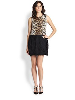 RED Valentino - Leopard-Print Fuzzy Cocktail Dress