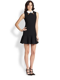 RED Valentino - Swan-Collar Poplin Dress