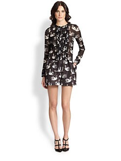 RED Valentino - Swan-Print Short Jumpsuit