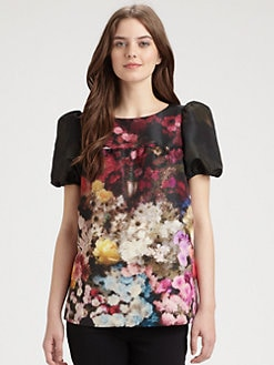 RED Valentino - Garden Print Satin Top