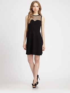 RED Valentino - Lace-Yoke Knit Dress