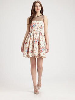 RED Valentino - Floral Print and Point D'Esprit Dress