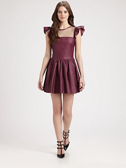 RED Valentino - Lace Overlay Leather Dress