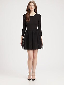 RED Valentino - Lace Overlay Jersey Dress