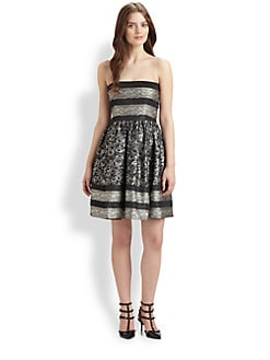 RED Valentino - Lace-Trimmed Cocktail Dress