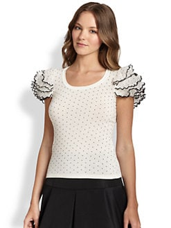 RED Valentino - Ruffle-Sleeve Polka-Dot Top