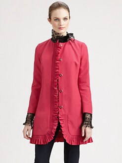 RED Valentino - Cotton Faille Ruffle Coat