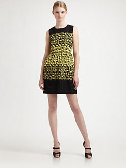 RED Valentino - Leaf-Print Sheath Dress