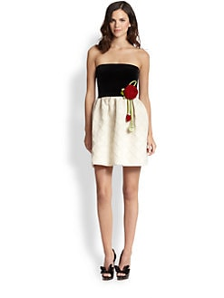 RED Valentino - Rose-Detail Velvet/Jacquard Dress