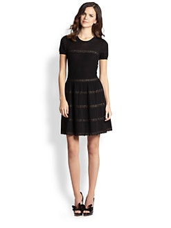 RED Valentino - Lace-Ribbon Wool Dress