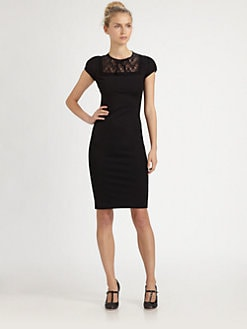 RED Valentino - Lace-Yoke Jersey Dress