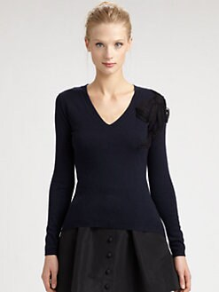 RED Valentino - Point D'Esprit-Bow Sweater
