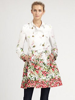 RED Valentino - Berry-Print Trenchcoat