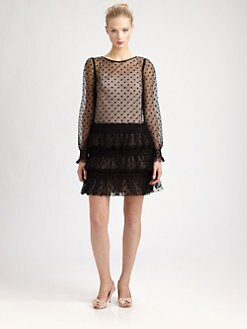 RED Valentino - Tulle Ruffle-Skirt Dress