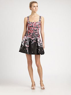 RED Valentino - Printed Dropped-Waist Dress