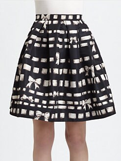 RED Valentino - Printed Bow-Detail Skirt