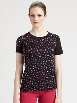 RED Valentino - Bow-Detail Cherry-Print Tee