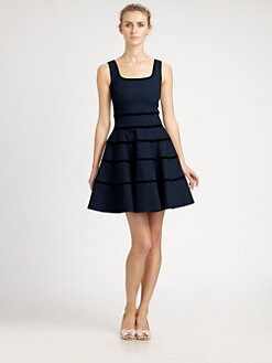 RED Valentino - Striped A-Line Dress