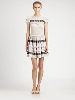 RED Valentino - Ruffle & Lace Knit Dress