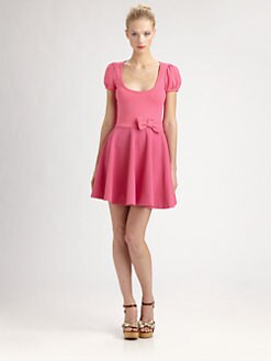RED Valentino - Jersey/Lace Bow-Waist Dress