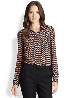 RED Valentino - Silk Crepe De Chine Printed Blouse